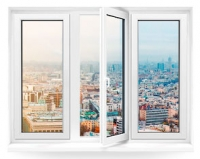 Трехстворчатое окно Rehau Blitz 2140х1350